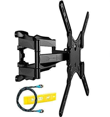 Invision® TV Wandhalterung - Ultrastarker Doppelarm - Schwenkbar Neigbar für 60-140 cm (24-55 Zoll) - für LED LCD OLED Plasma Curved Fernseher – Max VESA 400 mit HDMI Kabel und Wasserwaage (HDTV-DL)
