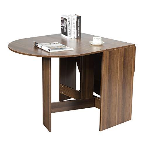Costway Table de Salle à Manger Pliable,Table Multifonctions en Bois,Charge Maximale 60KG avec Plateau Rond Ovale pour Maison Moins de 6 Personnes 163 x 80 x 75CM Bois Naturel Foncé
