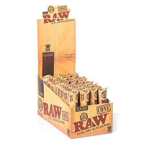Raw Vorgerollte King Size 1 x 3 Kegel – 32 Packungen (komplette Box mit 96 Kegeln)