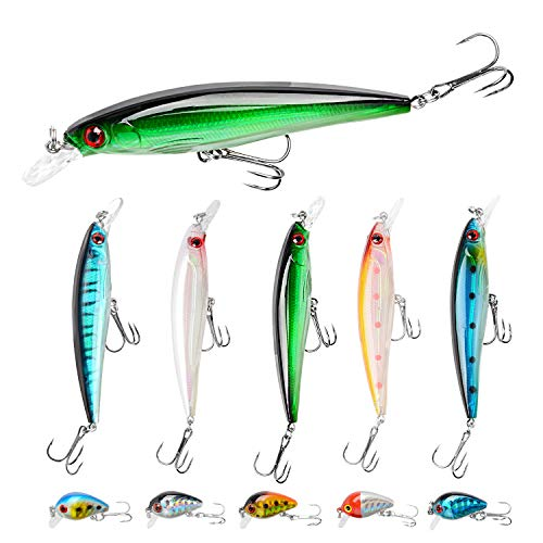 Fishing Lures Kit Minnow Lures Minnow Crank Bait Fishing Tackle Topwater Baits for Bass Trout...