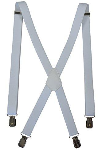 Olata Hosenträger mit 4 Clips für Herren/Damen - Modell 'Skinny' 2.5cm. Weiß