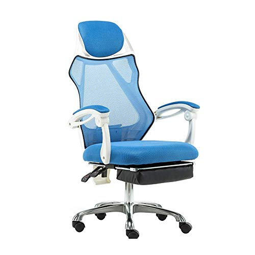 ZYLZL Chair Gaming Chair Office Home High-Foot Fabric Game Chair With Footstool Ergonomic Swivel Chair Adjustable Height Reclining Office Chair Used In Office Meeting Room,Blue,White Frame