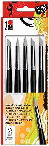 Marabu 0173000000020 - Modellierpinsel Set, 5 Pinsel mit verschiedenen Silikonspitzen, in runder, flacher und abgeschrägter Form, zum Mischen, Verteilen und Modellieren von Farben, Pasten und Gelen