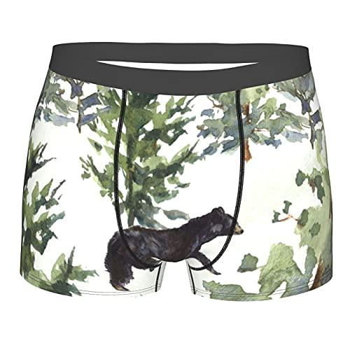 Acuarela Mountain Forest Bear - Pantalones cortos para hombre, Negro, L
