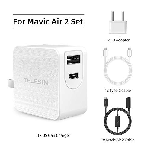 Telesin 65W USB C Cargador GAN Tech,2 Puertos PD QC Cargador USB-A C Wall Cargador Compatible con dji Mavic AIR2 Drone Cargador para I Phone/Próxima Pico Pico 30 Pico. (Blanco) (For Mavic AIR2 Set)