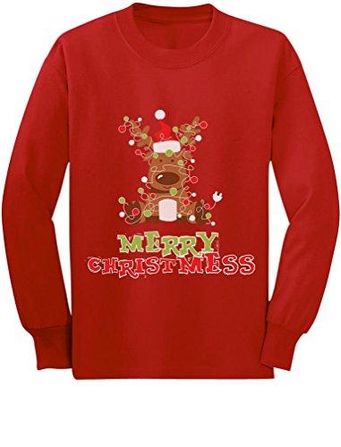 Merry Christmess Cute Reindeer Xmas Lights Toddler Kids Long Sleeve T-Shirt 5T Red