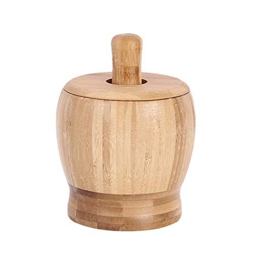 Hemoton Mortar and Pestle Set with Lid Natural Bamboo Wood Pepper Garlic Herb Spice Grinder Press Crusher Masher