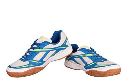 Nivia Super Court Badminton Shoe (White and Blue_8 UK)
