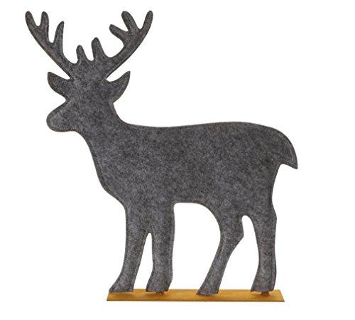 Time for Home Weihnachtsdeko Filz Rentier grau 40 cm Hirsch Filzdeko Weihnachten Deko Herbstdeko Rostdeko ausgefallen modern