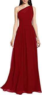 JONLYC One Shoulder A-Line Chiffon Long Bridesmaid Dresses Evening Gowns