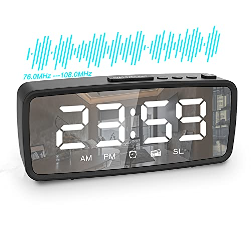 ShangDingHao LED Digital Clock, Alarm Clock for Bedroom , FM Radio Mirror Clock with Snooze Function, 3 Levels of Brightness, USB or Battery Powered Family Office Travel Small Desk Clock (Black)