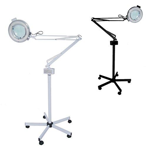 Polironeshop Lámpara con lente de 5 dioptrías más soporte ajustable mueble estudio masaje esteticista estética tatuaje (blanco)