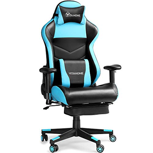 YITAHOME Massage Gaming Chair with Footrest Big and Tall 380lbs Heavy Duty Ergonomic Video Game Chair High Back Office Computer Chair Racing Style with Headrest and Lumbar Support,Light Blue