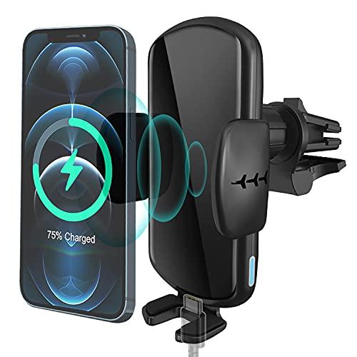 ZHIKE Wireless Charger Auto, 2 in 1 Qi 15W Lüftung Kfz Induktive Ladestation, Auto-Entlüftungs-Telefonhalter, für iPhone 11/11 Pro / 11 Pro Max/XR/XS/X, Samsung S20 / Note 10 / S10, Huawei