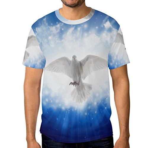 DEZIRO Heilige Geest Vogel Vliegende Hemel Heldere Licht Glansen Van Hemel Patroon Mannen Werkkleding T-Shirt Short-Sleeve