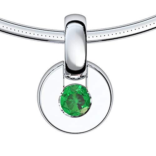 Weißgold Kette Smaragd 750 + inkl. Luxusetui + Smaragd Kette Weißgold Smaragdkette Anhänger Weißgold Halskette (Weißgold 750) - Centrical Amoonic Schmuck Länge 45cm - TS10 WG750SMFA45
