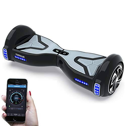 "TOMOLOO Hoverboard UL2272 Certified 6.5"" All Terrain Wheels App Controlled Electric Self Balancing Scooter for Kids and Adults with Bluetooth Speaker and LED Light"