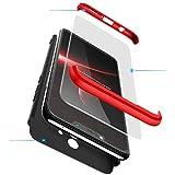 BESTCASESKIN Funda para Samsung Galaxy J7 Prime, Carcasa Móvil de Protección de 360° 3 en 1 Desmontable con HD Protector de Pantalla Caso Case Cover para Samsung Galaxy J7 Prime (Rojo Negro)