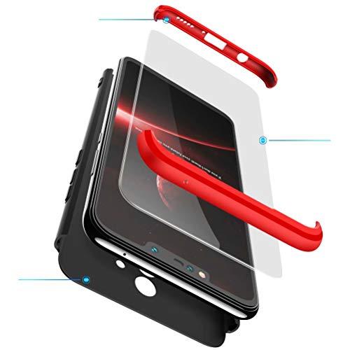 BESTCASESKIN Cover per Cellulare ASUS Zenfone Max PRO M2 ZB631KL in PC Rigida con Vetro Temperato Struttura 3-in-1 Finitura Opaca Protettiva per Corpo Intero Antiurto AntiGraffio – Rosso Nero