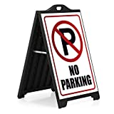 M&T Displays Black Street SignPro Board, Weatherproof A-Frame Sidewalk Curb Sign with 2 24x36 inches Matt Laminated Anti-Glare NO Parking Sticker Signs, Folding Portable Double Sided