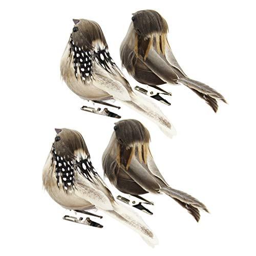 NUOBESTY Pájaros artificiales con plumas y pájaros, figuras de Pascua con clip para fotos, decoración de Pascua, casa, jardín, boda, festival, fiesta, decoración, 4 unidades (color aleatorio)