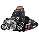 RECHARGEABLE & ADJUSTABLE: The headlamp is Powered by 2 x 6800mAhMULTIPLE MODES: Multiple lighting, this is the best helmet light for those who need different light brightness levels for their activities. Simply press the switch button on the headlam...