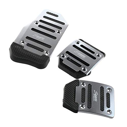VOSAREA 3pcs Aluminum Car Pedal Covers, Manual Transmission Foot Pedals Brake Pads Non-Slip Performance Foot Pedals Pads Kit (Silver)
