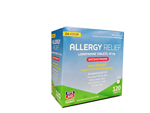 Rite Aid 24 Hour Loratadine 10 mg Allergy Relief Tablets, 10mg - 120 Count | Non-Drowsy Allergy Pills | Non-Drowsy Allergy Medicine