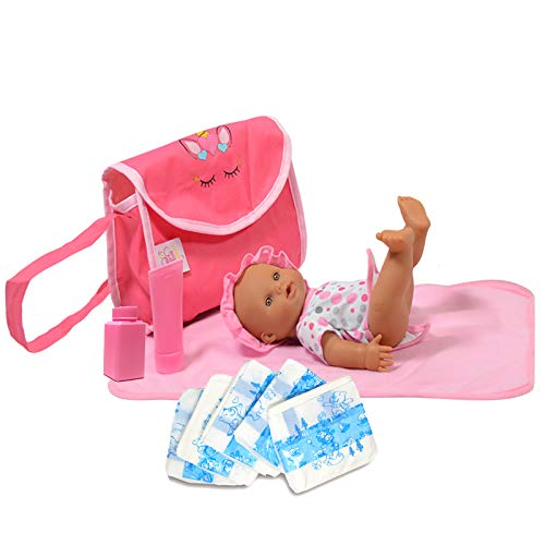 The New York Doll Collection Unicorn Doll Diaper Travel Bag with Doll Care Accessories, Including Pampers, Baby Lotion, Powder, and Changing Mat