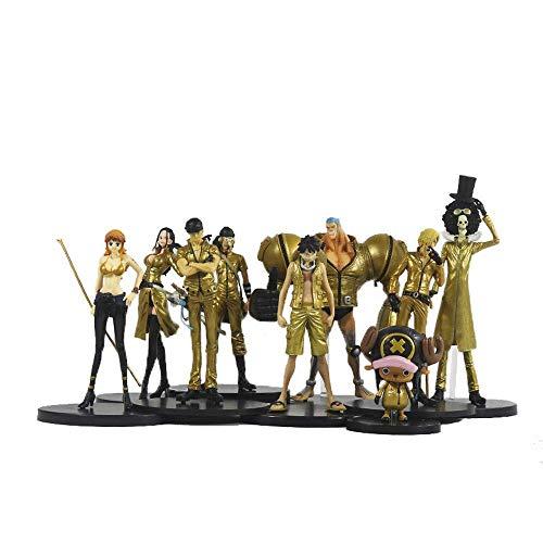 SXXYTCWL ONE Piece Film Gold 9 Zeichen Puppen Strohhut-Piraten Anime Modell-Animation Zeichen Zeichen Statue Sammlung Spielzeug jianyou