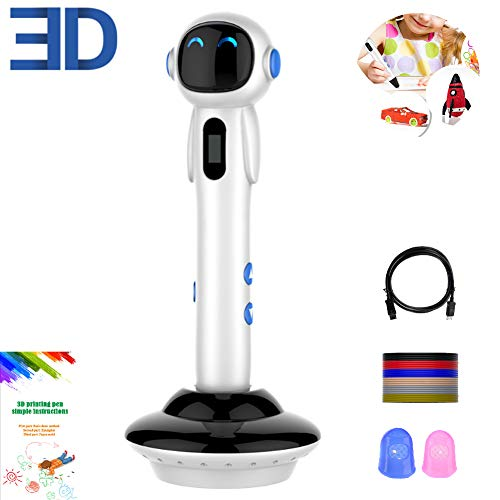 HEHAOYUAN Robot 3D Printing Drawing Pen LED Display USB Charging, One-key Operation, Easy for Kids to Operate, Interesting Gifts for All Age,Silver