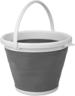 Home Basics 10 LT (2.6 Gal) Collapsible Plastic Bucket with Sturdy Handle for Cleaning, Moping Pail, Car Wash, Outdoor, Camping, Fishing, BPA Free, Strong, Flexible - Grey (1)