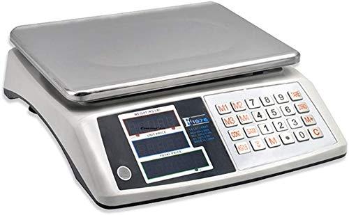 Balanza Cocina Cocina electrónica Escalas Postal Escalas de pesaje de Metal LCD Pantalla de Alta precisión para la Tienda de Outlet al por Menor de Paquetes Lqhzwyc (Color : White, Size : 40kg/5g)