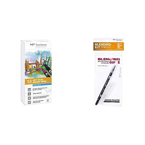 Tombow ABT-18P-1 Fiber Pen Dual Brush Pen con dos puntas Juego de 18 primarios + Mezclador Blending Tombow