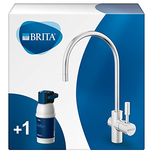 Brita 65751 Armatur mit integriertem Wasserfilter mypure P1, Wasserhahn mit Filter zur Reduzierung von Kalk, Chlor und geschmacksstörenden Stoffen , 26.5 cm hoch, 13,7 cm tief