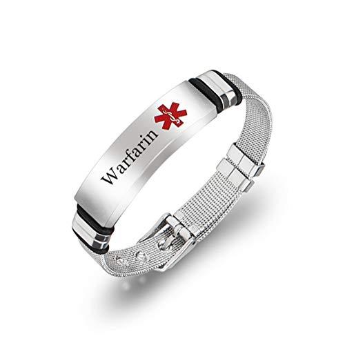 Warfarin Medcial Alert ID Bracelet for Men Women - Stainless Steel Mesh Belt Chain Emergency Medic Bracelets Name ICE Allergy Bracelets Medical Identification Health Jewelry Adjustable