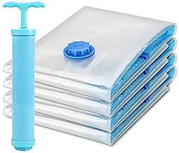 ZOSOE Vacuum Storage Reusable Ziplock Smart Space Saver Bags (Pack of 5) 2 Small (50 cm x 70 cm), 2 Medium (60 cm x 80 cm), 1 Large (70 cm x 100 cm) with Hand Pump for Travel