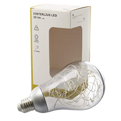 IKEA VINTERLJUS - Bombilla decorativa E27 LED, 5200 K, color blanco frío, color plateado