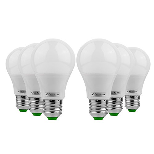 Ruanyi 6 PCS E26 / E27 LED 5W 400-500lm 10led 5730SMD Globe Ampoules Blanc Chaud Blanc Froid AC 12 V / DC 12-24 V Luminaire ( Couleur : Warm White )
