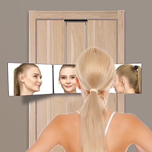 TYTOGE Espejo Triple con luz, Espejo Colgante de 3 vías Ajustable de Brillo, Espejo de tocador Triple para Corte y Peinado automático