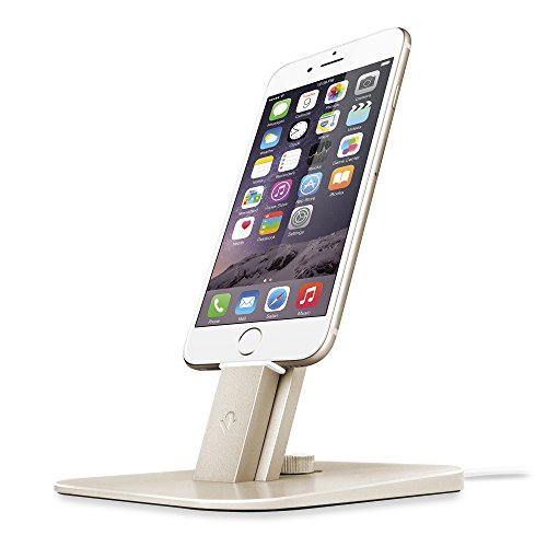 Twelve South HiRise Deluxe Desktop Stand für iPhone, Smartphones (inkl. Lighting-Kabel, Micro-USB Kabel für Laden und Synchronisierung) gold