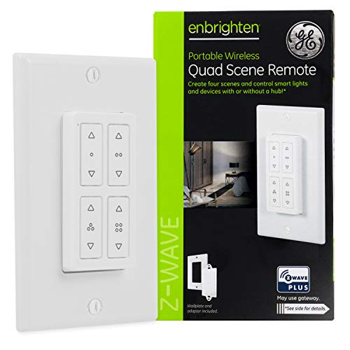GE Enbrighten 34176 Z-Wave Quad Scene, Portable Wireless Remote, Create One-Touch Control for Zwave Devices Works with or without Hub, White