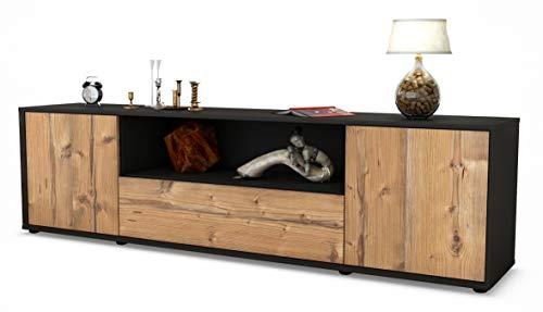 Stil.Zeit TV Schrank Lowboard Arbnora, Korpus in Anthrazit Matt/Front im Holz-Design Pinie (180x49x35cm), mit Push-to-Open Technik und Hochwertigen Leichtlaufschienen, Made in Germany