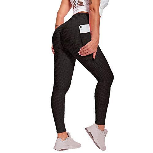 Shapeviva Damen Leggings Anti-Cellulite Yogahosen Stretch Hohe Taille Sportleggings Blickdicht Gym Push UP Yogaleggings Lift Sporthose Bauchkontrolle mit Taschen Schwarz