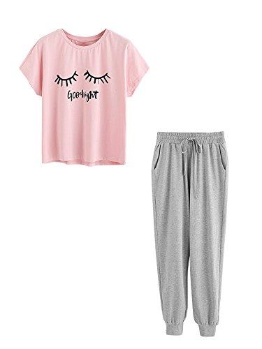 DIDK Women's Crewneck Eye Print Tee and Pants Pajama Set Pink & Grey L