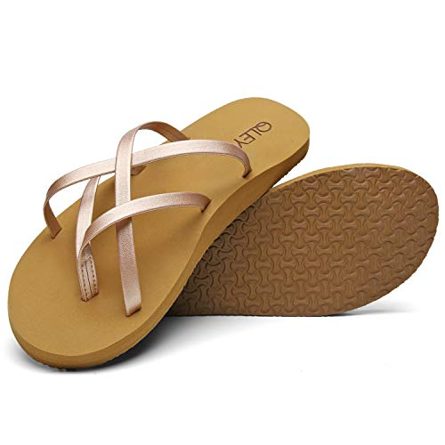 QLEYO Arch Support Flip Flops for Women, Soft Mat Foam Sandal, Strap Thong Shoes for Travelling/Beach/Pool/Party QLTX04-1-W33-6
