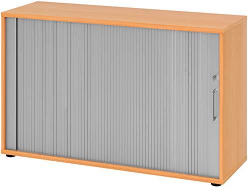 bümö® Aktenschrank mit Rollladen | Rollladenschrank für Aktenordner | Büroschrank für Akten | Büromöbel | Rolladenschrank in 6 Farben & 2 Höhen (buche/Silber, Höhe: 74 cm)