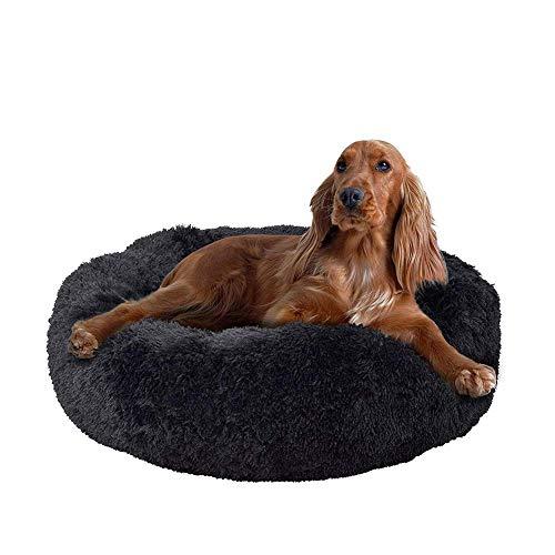 GSELL-HF Felpa Dona Cama del Animal Doméstico, Ronda del Gato del Perro De La Perrera Suave Calentamiento Cuddler Cachorro Sofá, Gato Cojín Cama Saco De Dormir, Negro, 40-120Cm,70cm