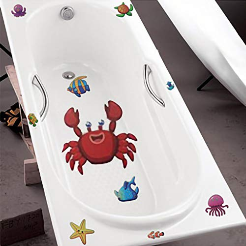 Non-Slip Bathtub Decal Stickers,SIN+MON 10 Pack Shower Bath Large Sea Creature Decal Treads- Best Adhesive Safety Anti-Slip Appliques for Bath Tub and Shower Surfaces- Bathroom Home Kids (Multicolor)