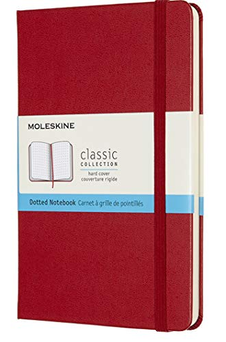 Moleskine Classic Notebook, Hard Cover, Medium (4.5' x 7') Dotted, Scarlet Red